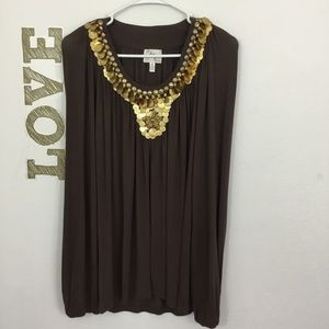 MILLY COIN EMBELLISHED JERSEY KNIT TOP